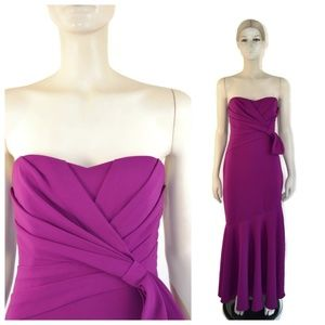 Badgley Mischka Strapless Purple Ruched Bow Gown 4